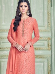Peach Party Pure Georgette Pant Style Suit
