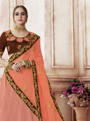 Peach Patch Border Art Silk Designer Lehenga Choli