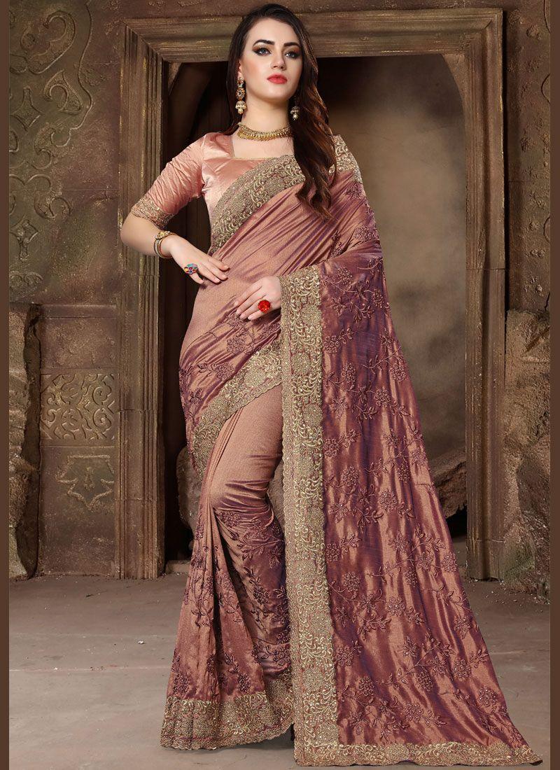 Peach Patch Border Bridal Classic Designer Saree