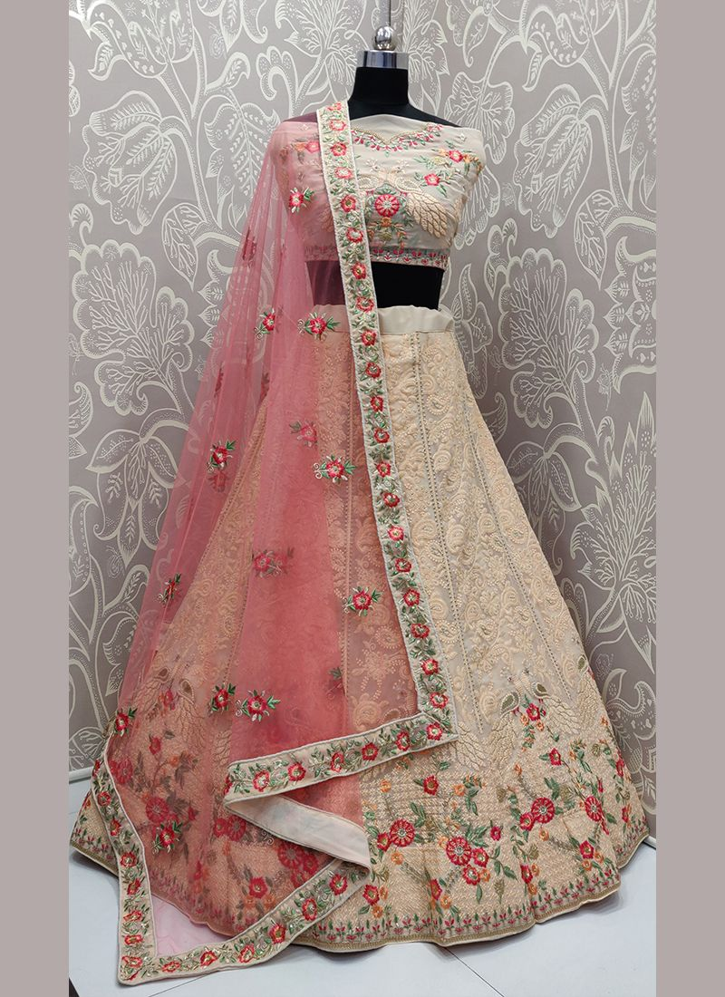 Peach Patch Border Faux Georgette Lehenga Choli