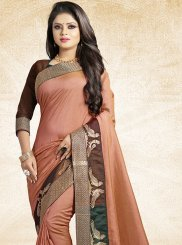 Peach Patch Border Party Traditional Designer Saree