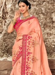 Peach Patch Border Satin Silk Traditional Saree