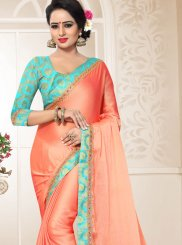 Peach Patch Border Traditional Designer Saree
