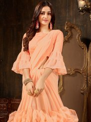 Peach Plain Designer Saree