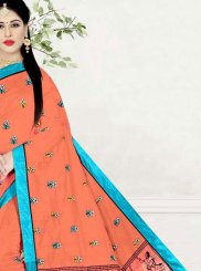 Peach Poly Cotton Printed Saree