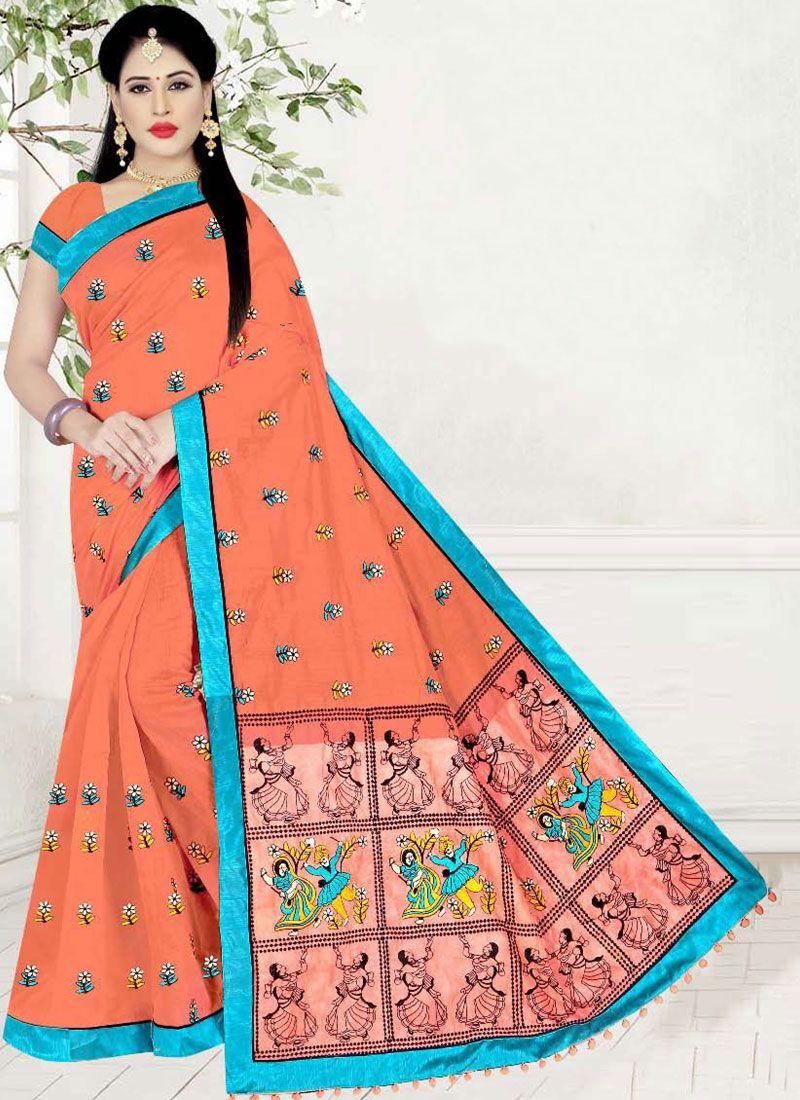 Peach Poly Cotton Printed Saree