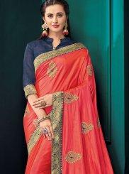 Peach Poly Silk Mehndi Classic Saree