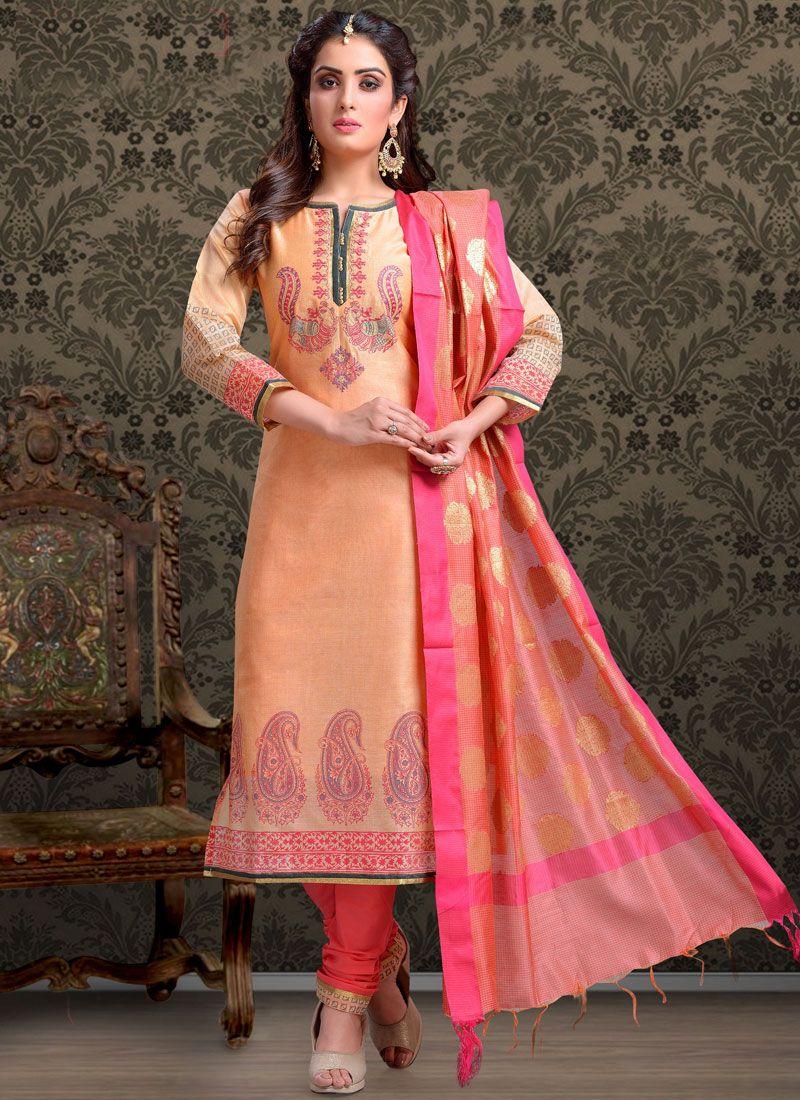 Peach Print Churidar Salwar Suit