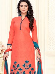 Peach Print Cotton Churidar Suit