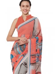 Peach Printed Faux Georgette Casual Saree