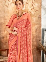 Peach Printed Georgette Printed Saree
