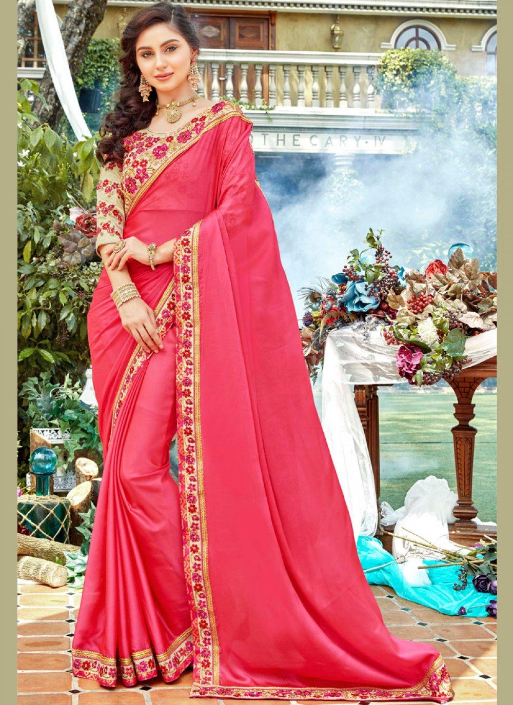 Peach Rangoli Stone Work Designer Saree