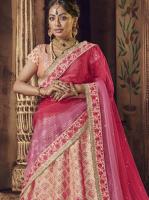 Peach Raw Silk Bridal Lehenga Choli