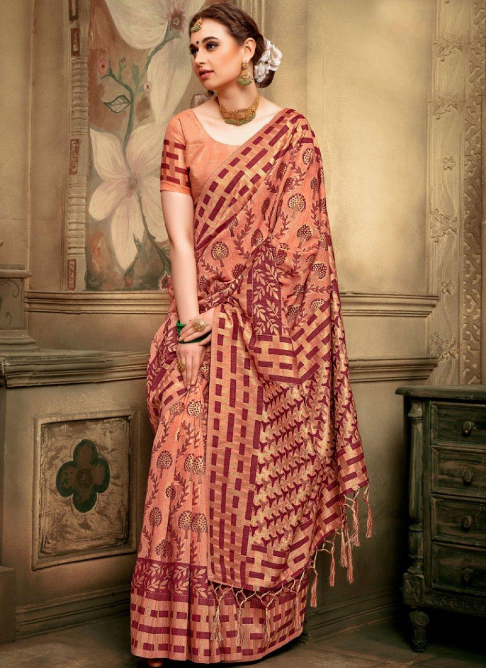 Peach Reception Designer Traditional Saree