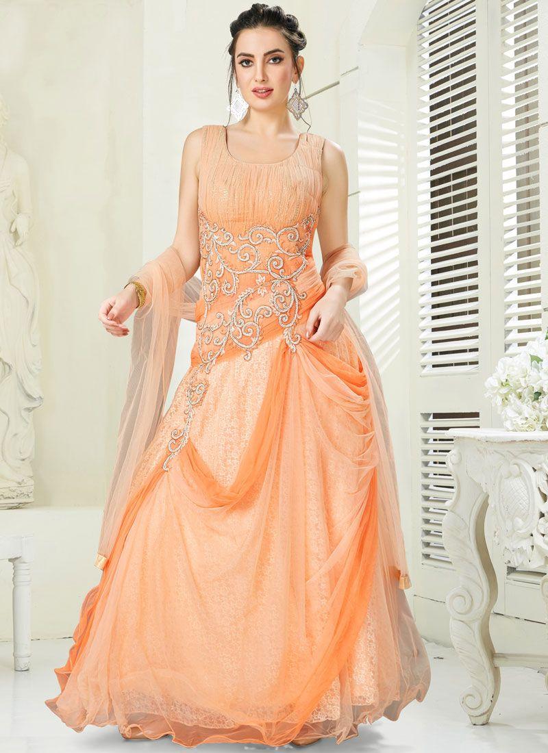 Peach Reception Desinger Anarkali Salwar Suit