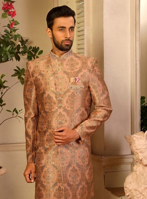 Peach Reception Jacquard Silk Indo Western