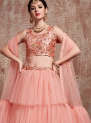 Peach Reception Net Trendy Lehenga Choli