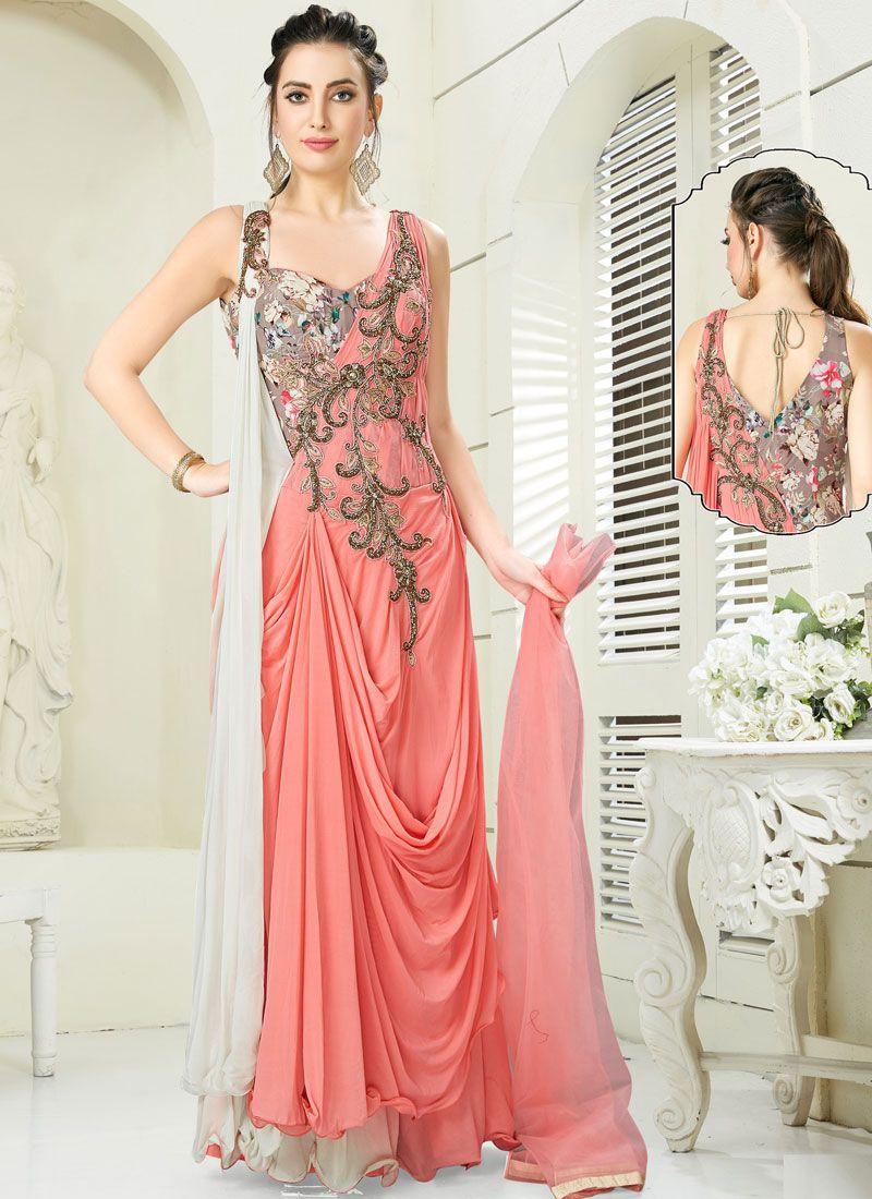 Peach Reception Trendy Designer Salwar Suit