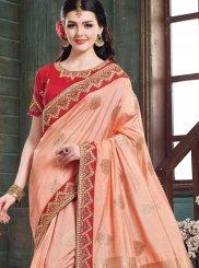 Peach Resham Art Silk Designer Traditional Saree