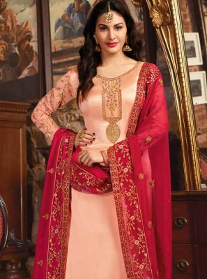 Peach Resham Churidar Designer Suit