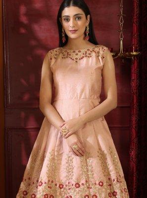 Peach Resham Designer Gown