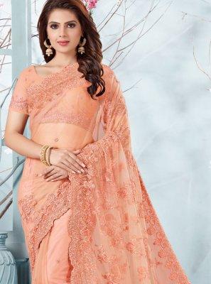 Peach Resham Net Designer Traditional Saree