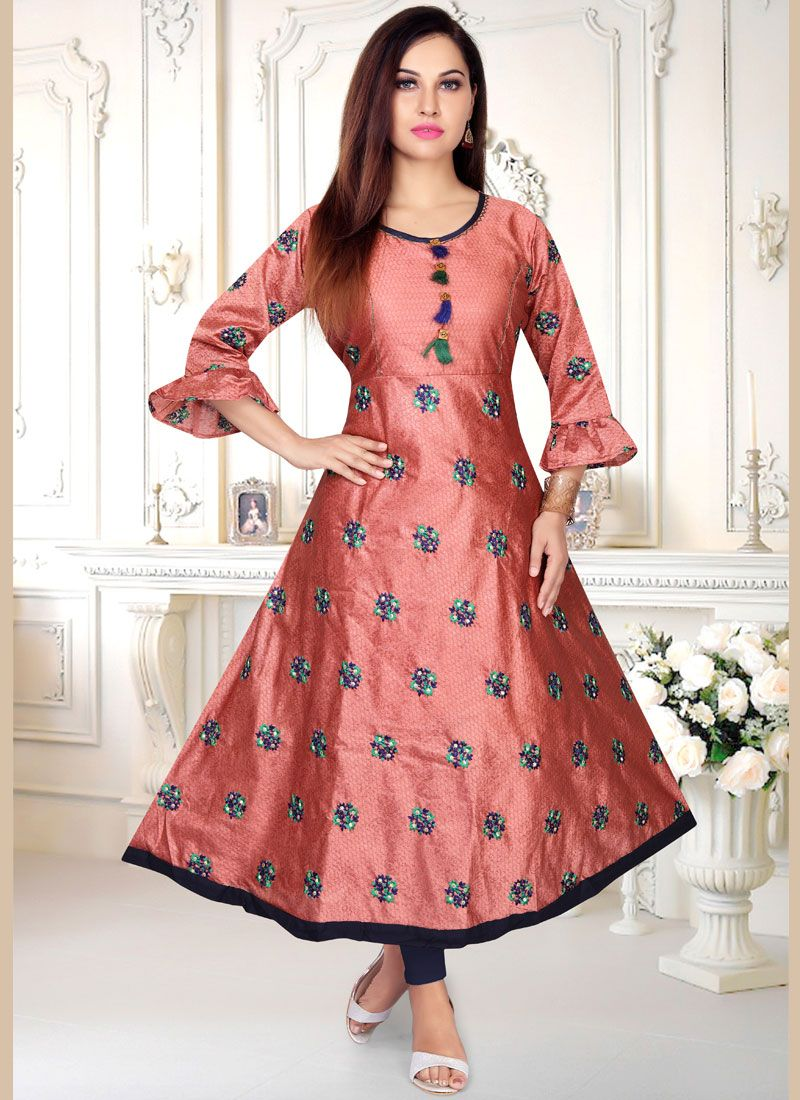 Peach Resham Party Wear Kurti