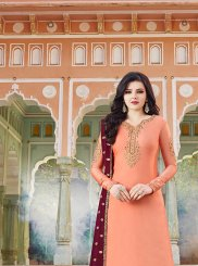 Peach Resham Satin Designer Pakistani Suit