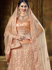 Peach Resham Wedding Lehenga Choli