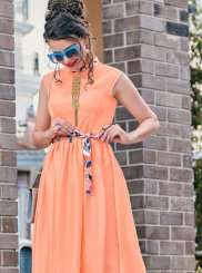 Peach Satin Print Readymade Gown