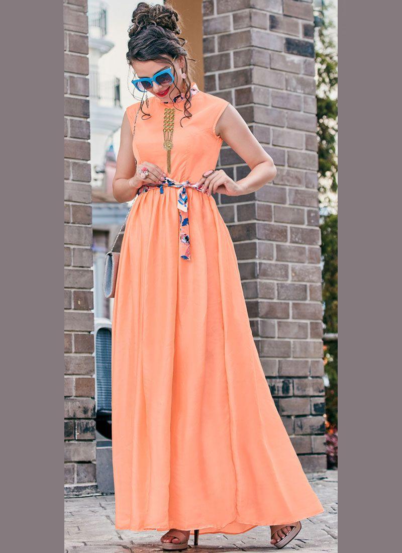 Peach Satin Print Readymade Gown