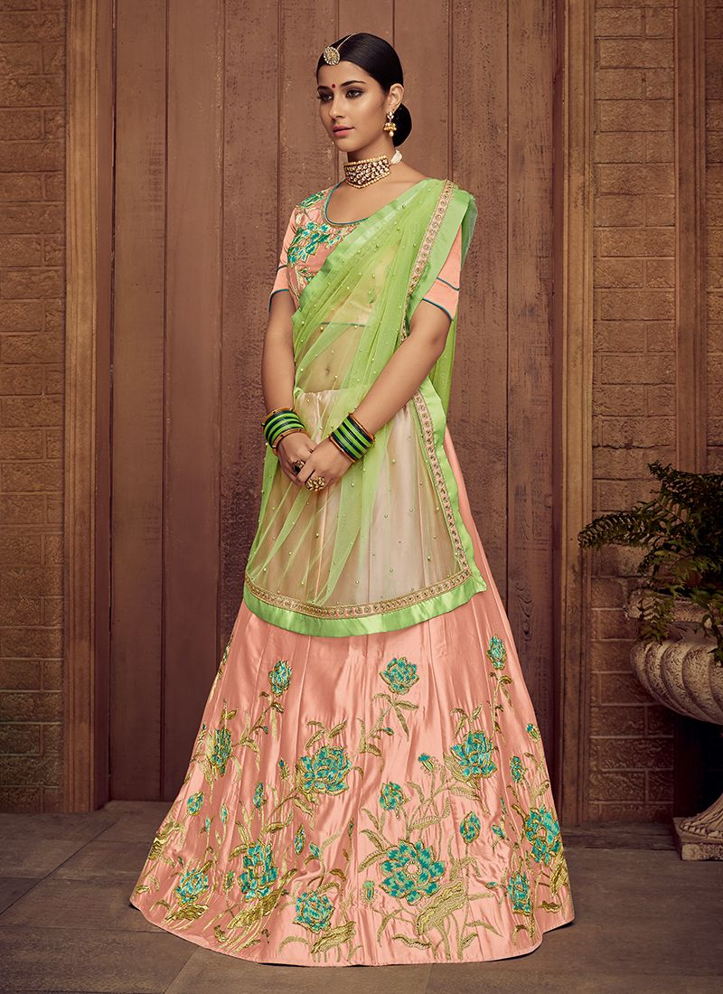 Peach Satin Silk Trendy Lehenga Choli