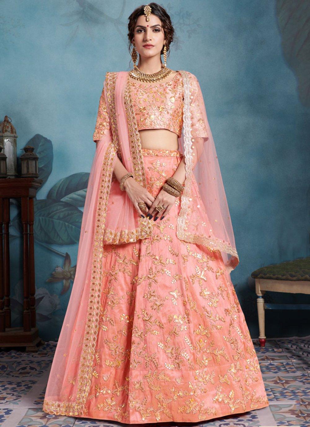 Peach Sequins Reception Trendy Designer Lehenga Choli