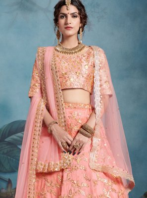 Peach Sequins Reception Trendy Designer Lehenga Choli