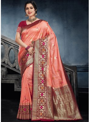 Peach Silk Ceremonial Classic Saree
