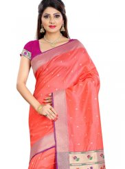 Peach Silk Classic Designer Saree