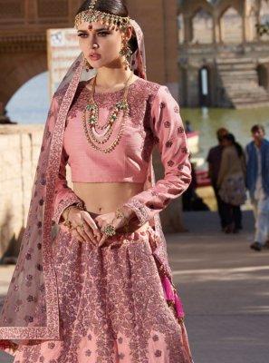 Peach Silk Designer A Line Lehenga Choli