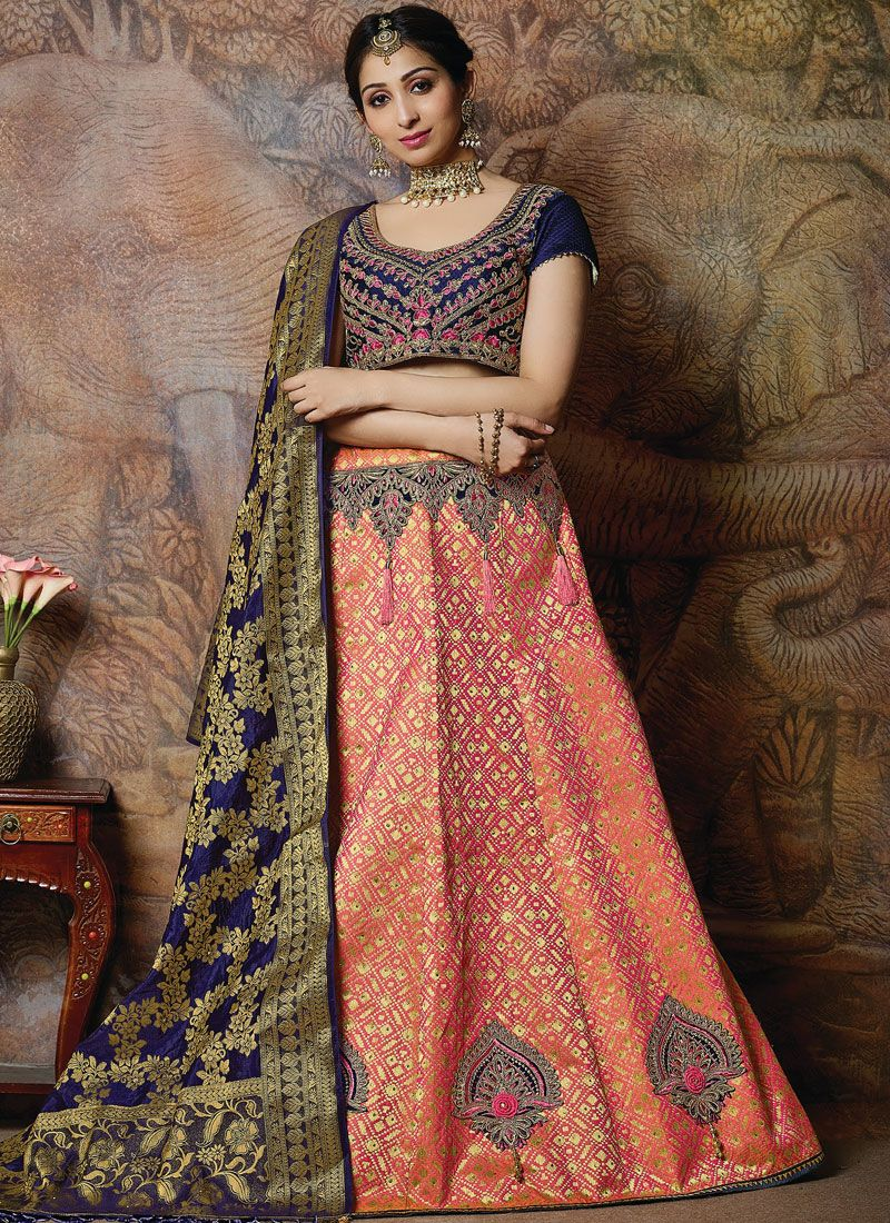 Peach Silk Embroidered Designer Lehenga Choli