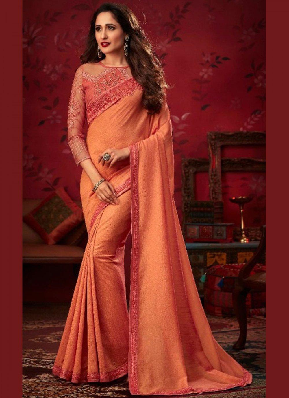 Peach Silk Trendy Saree