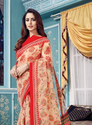 Peach Super Net Designer Traditional Saree