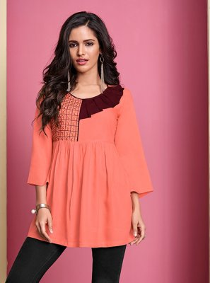 Peach Thread Work Casual Casual Kurti