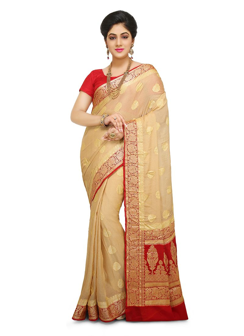 Peach Weaving Art Banarasi Silk Designer Traditional Saree