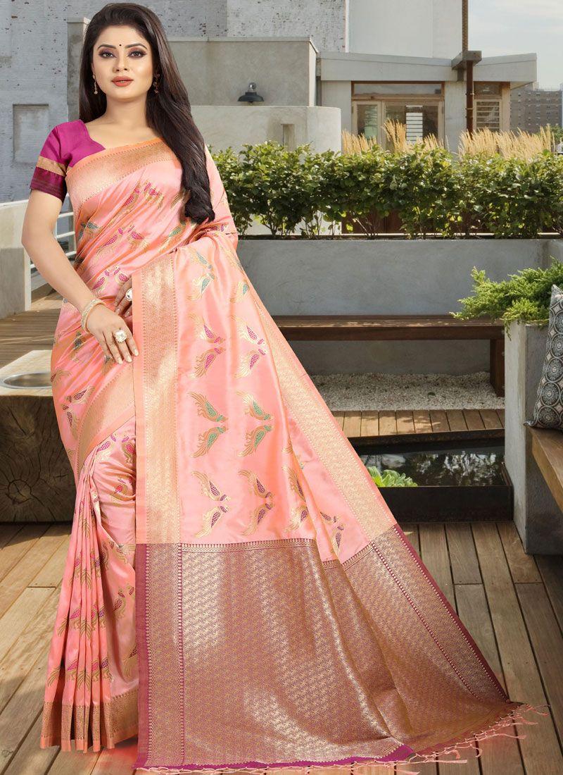 Peach Weaving Art Silk Designer Traditional Saree