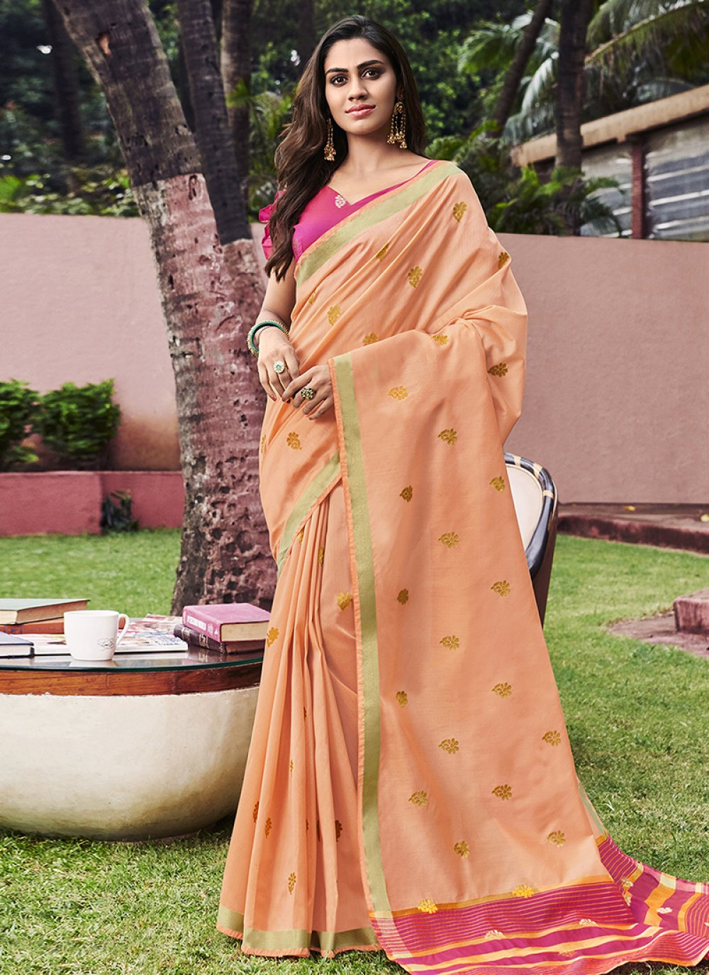 Peach Weaving Chanderi Designer Saree