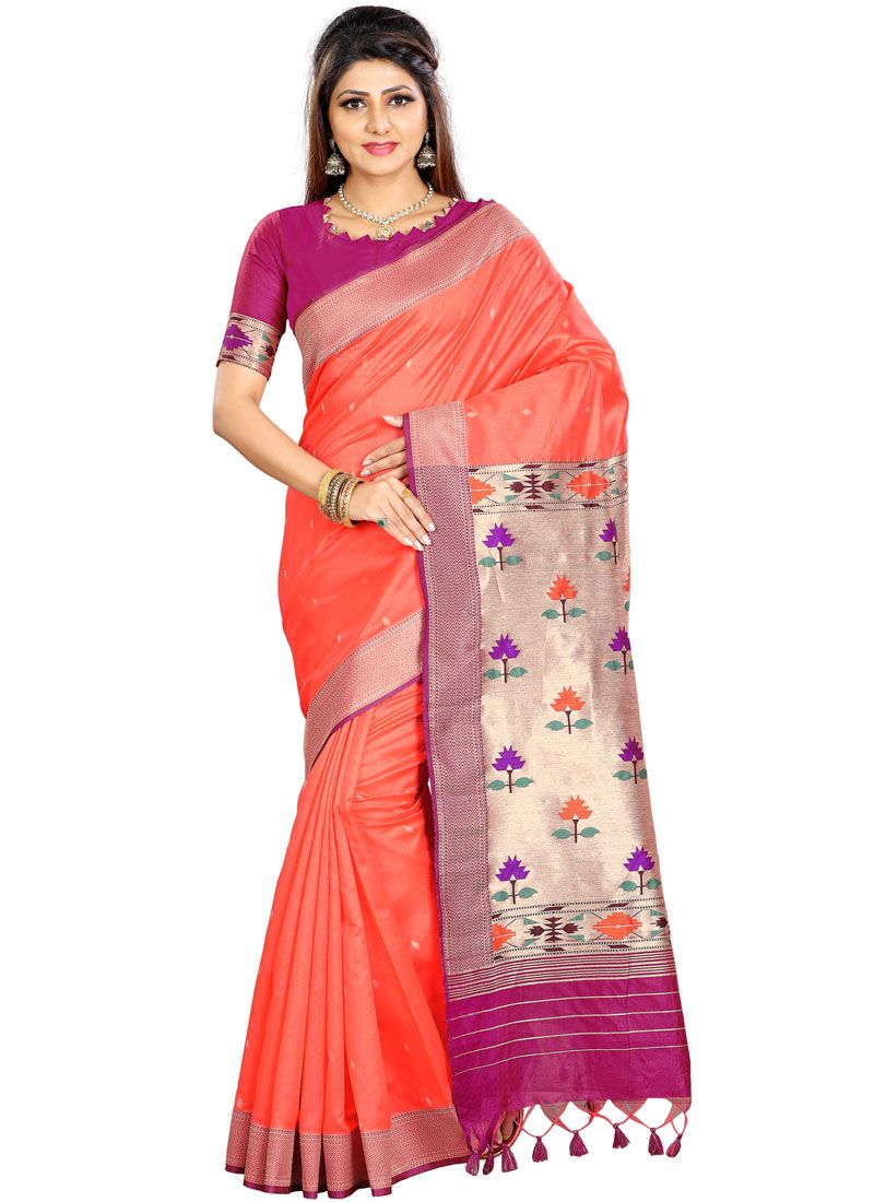 Peach Weaving Party Traditional Saree