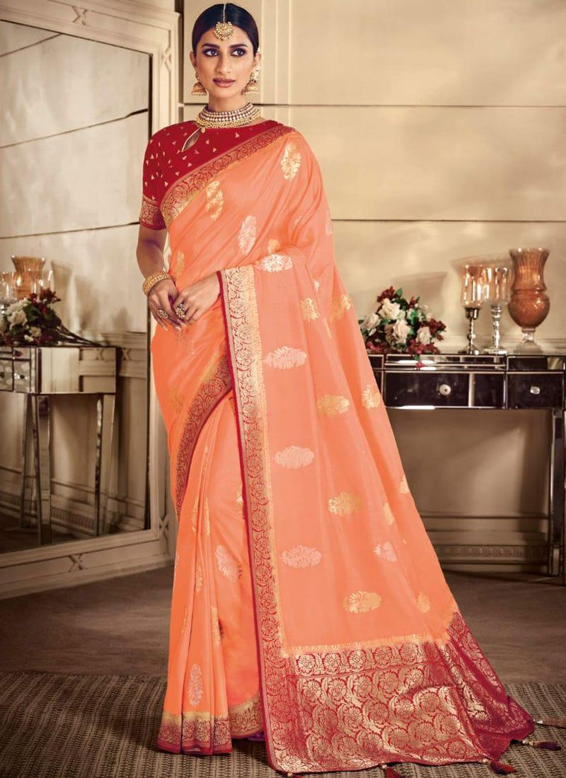 Peach Weaving Silk Classic Saree