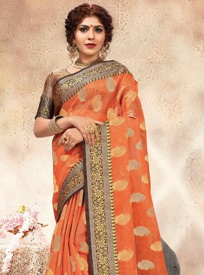 Peach Weaving Traditional Saree