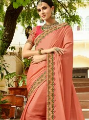 Peach Wedding Art Silk Traditional Designer Saree