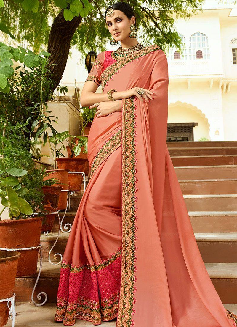 Peach Wedding Art Silk Traditional Designer Saree