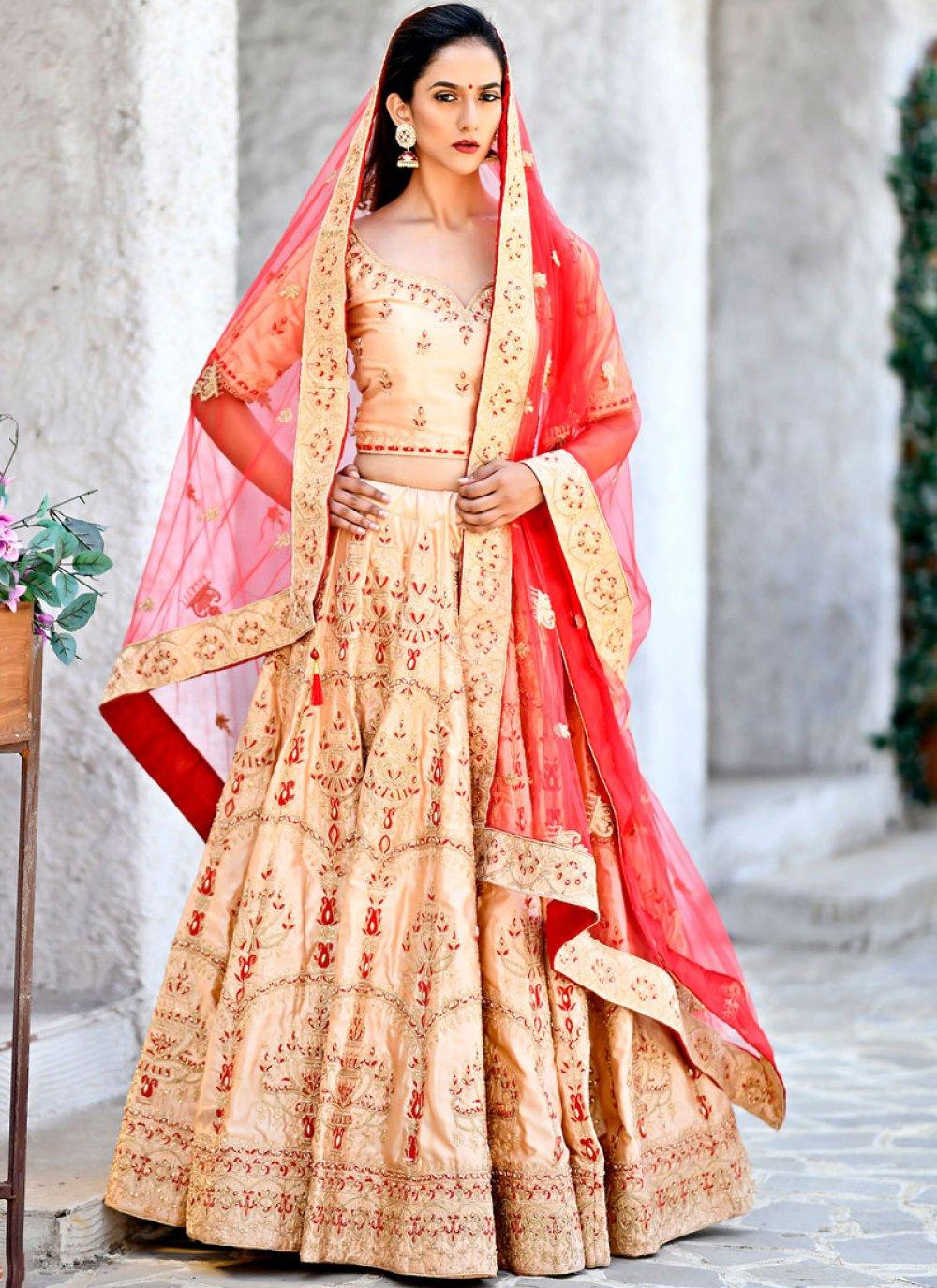 Peach Wedding Lehenga Choli